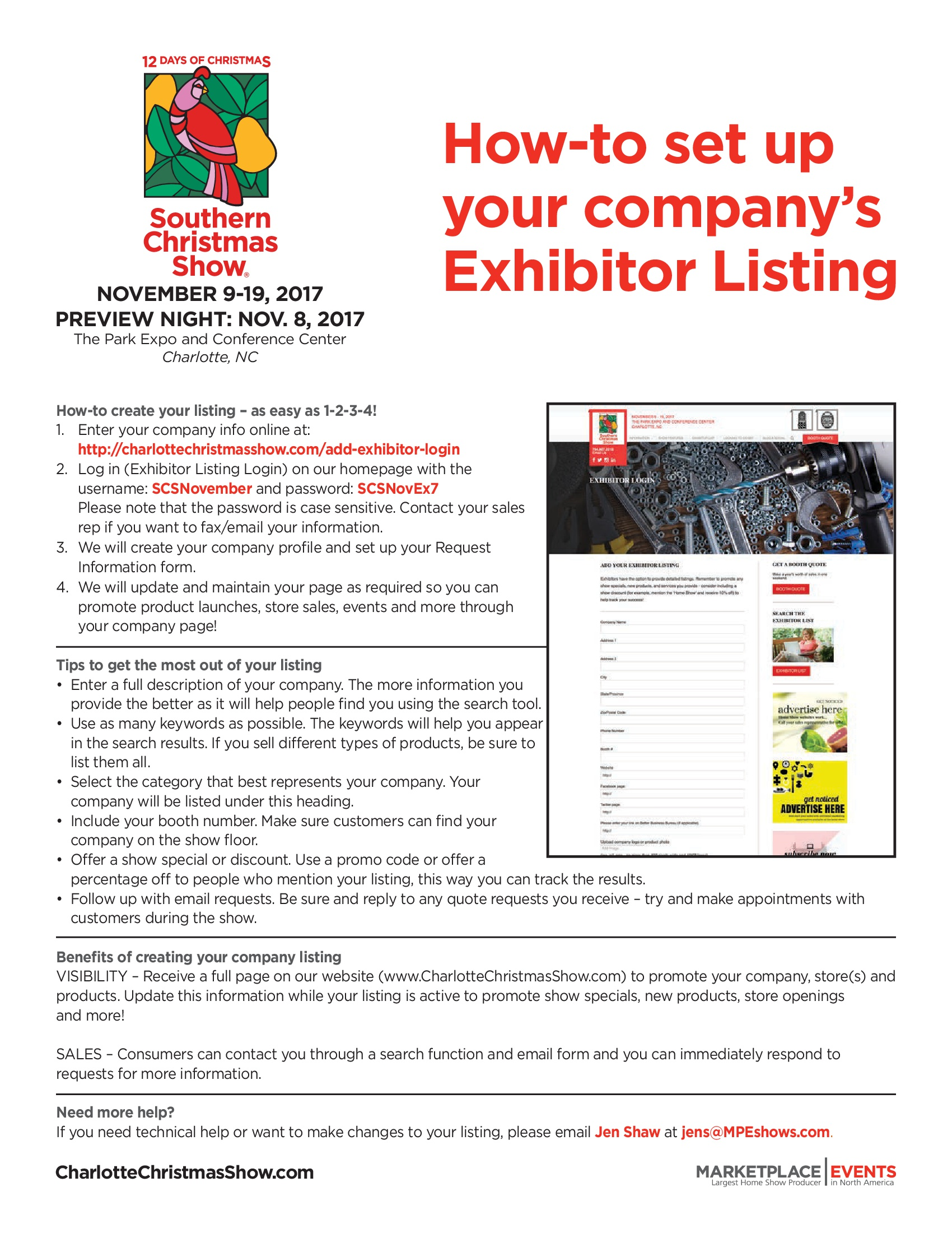 Exhibitor Kit - Southern Christmas Show